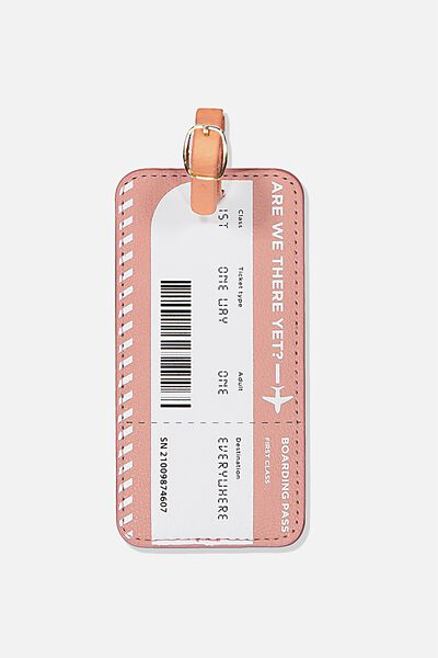 Shape Shifter Luggage Tag, BOARDING PASS DUSTY ROSE