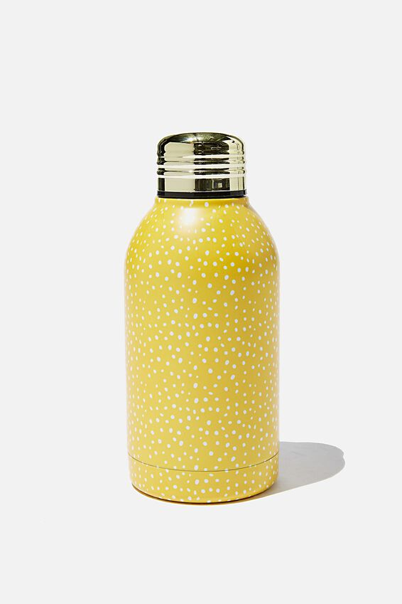 Mini Metal Drink Bottle, MUSTARD POLKADOT