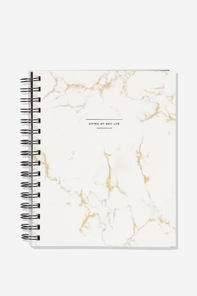 Medium A5 Campus Notebook - V, WHITE MARBLE LOTS TO DO