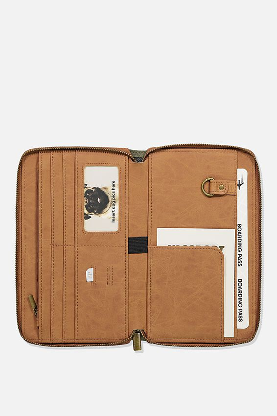 Rfid Odyssey Travel Compendium Wallet, WASHED KHAKI