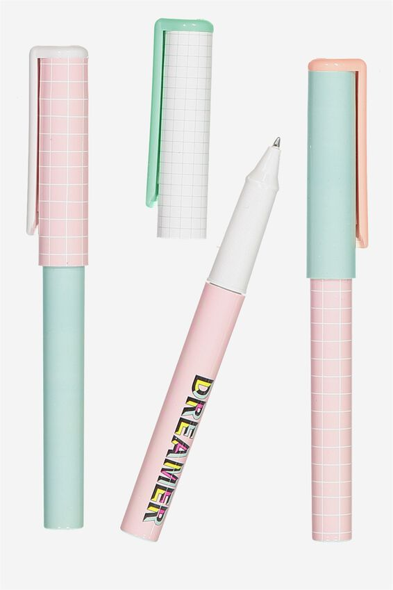 Campus Pen 3Pk, PASTEL GRID