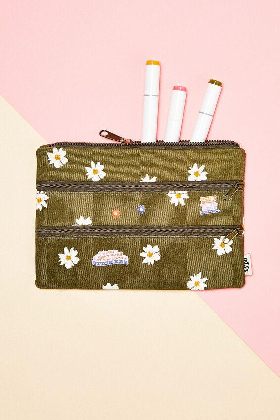Double Archer Pencil Case, DAISY KHAKI