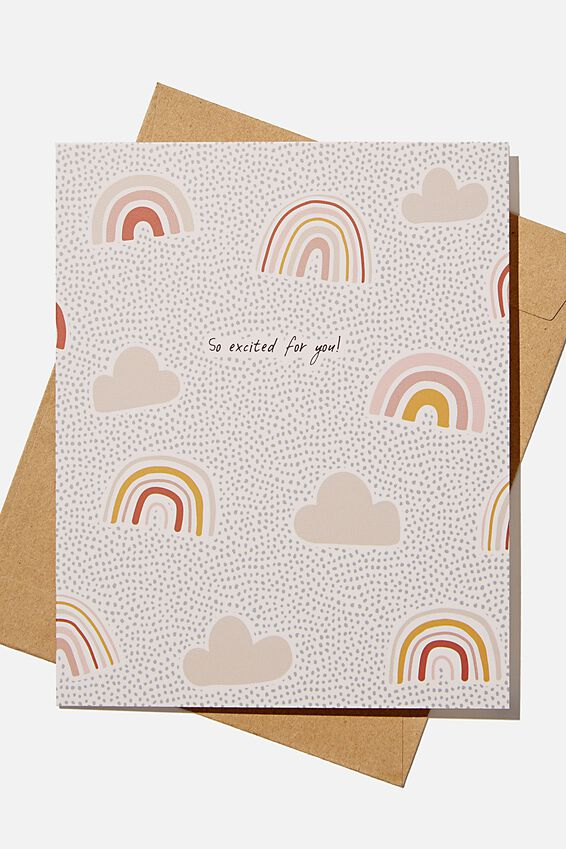 Congratulations Card, SO EXCITED FOR YOU RAINBOW SPOT