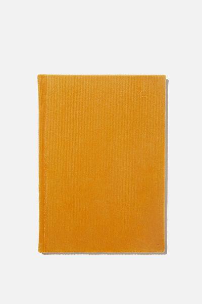 A5 Oxford Notebook, MUSTARD RIB VELVET