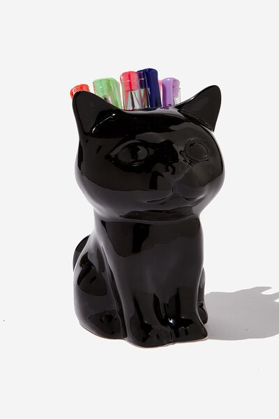 Pen Holder, BLACK CAT SITTING