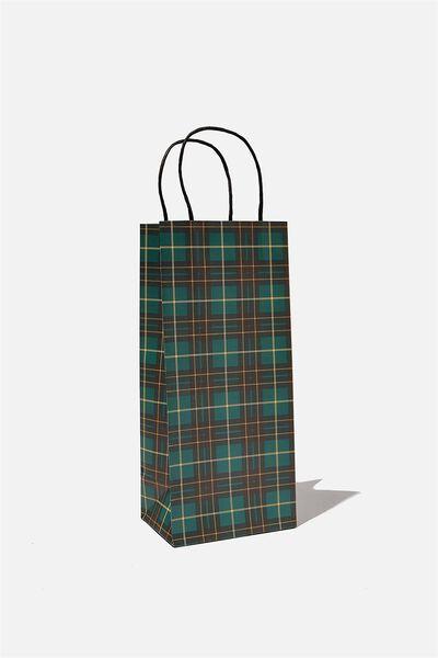 Bottle Gift Bag, GREEN TARTAN