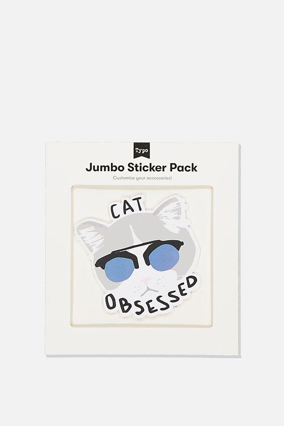 Jumbo Sticker, CAT OBSESSED