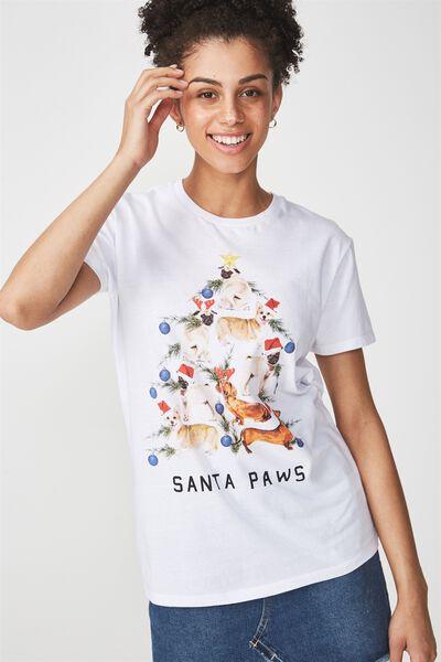 Womens Novelty Tshirt, SANTA PAWS