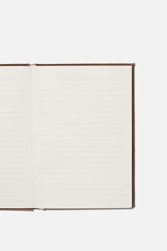 A5 Oxford Notebook, BROWN RIB VELVET
