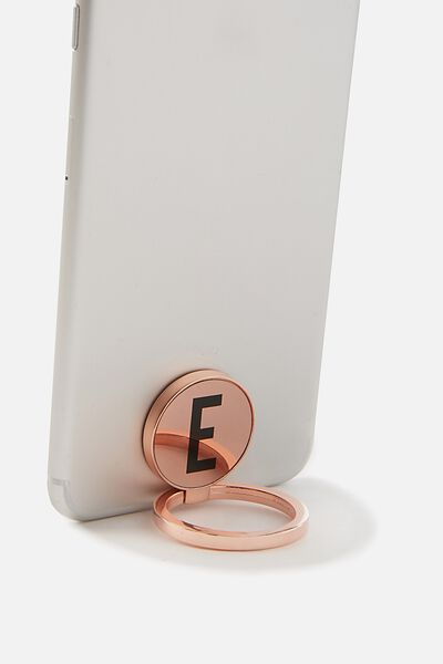 Metal Alpha Phone Ring, ROSE GOLD E