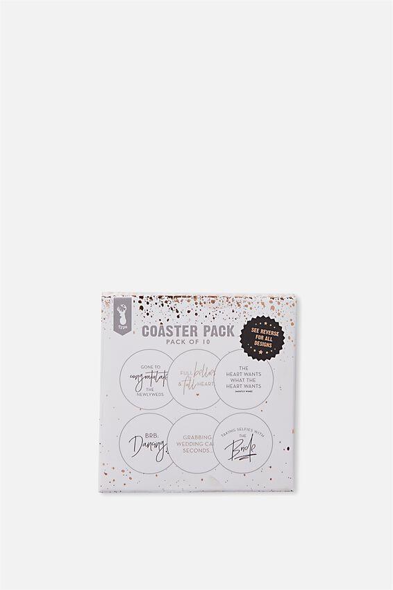 Coaster 10 Pack, ROSE GOLD FOIL