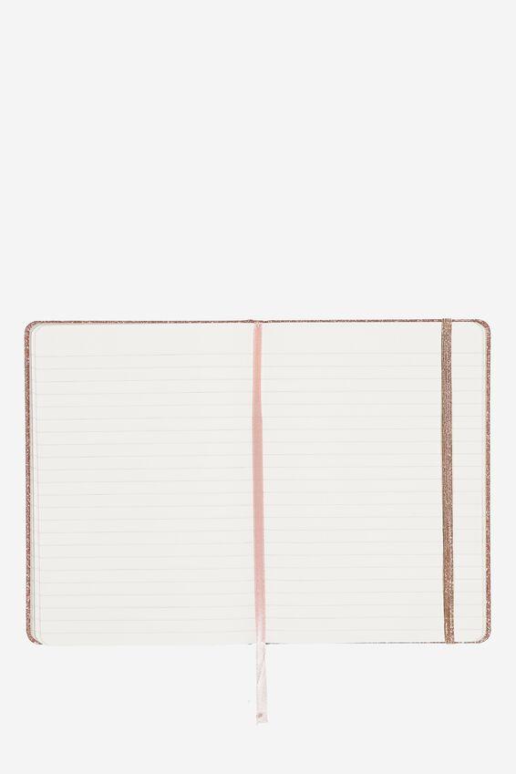 """A5 Buffalo Journal (5.8"""" x 8.2""""), ROSE GOLD GLITTER"""