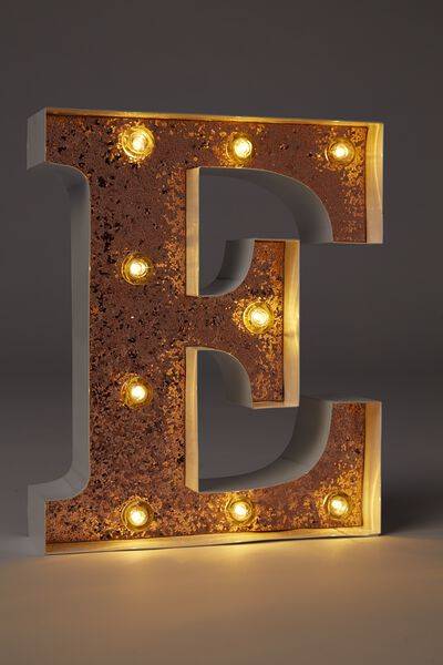 Small Letter Marquee Light, WHITE WITH ROSE GOLD GLITTER E