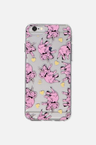 Transparent Phone Cover Universal 6,7,8, TRICERATOPS PINK