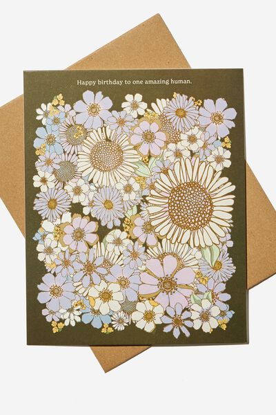 Nice Birthday Card, SUNNIE FLORAL AMAZING HUMAN
