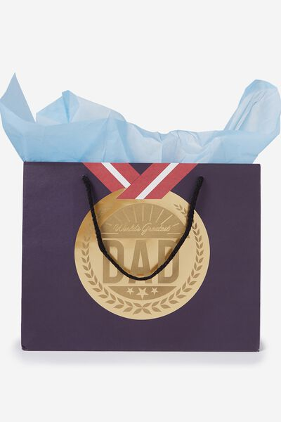 Wrapping paper ribbon cotton on medium gift bag with tissue paper medal negle Choice Image