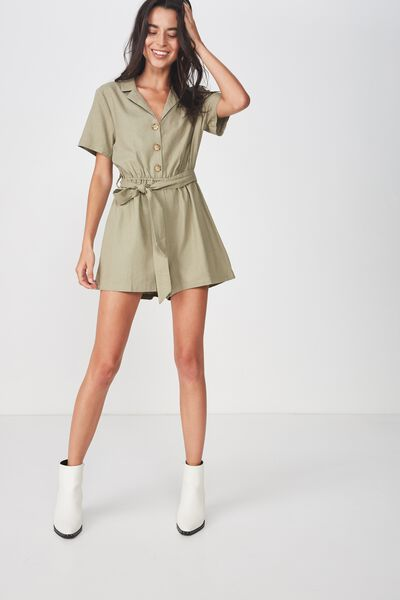 Woven Lucille Playsuit, SILVER SAGE