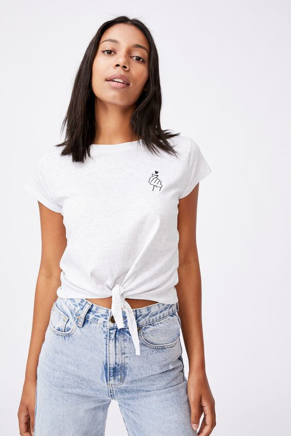 Tie Front Graphic Tee - Marle, KPOP HEART/SILVER MARLE