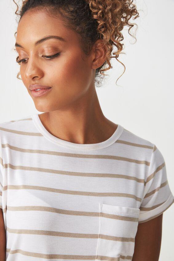 Kathleen Short Sleeve Top, MIRI STRIPE WHITE/LATTE MARLE