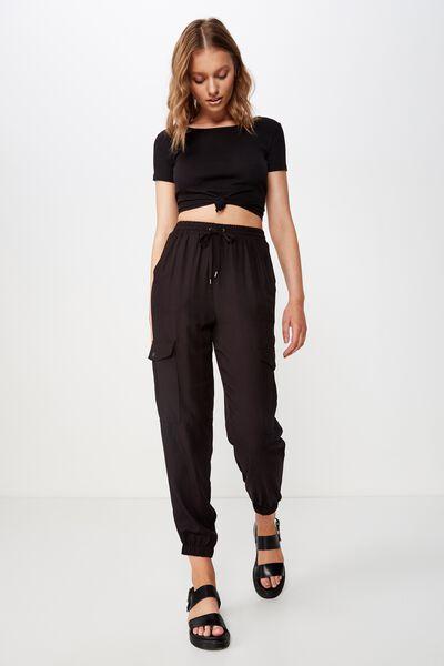 Cerrie Drapey Utility Pant, BLACK