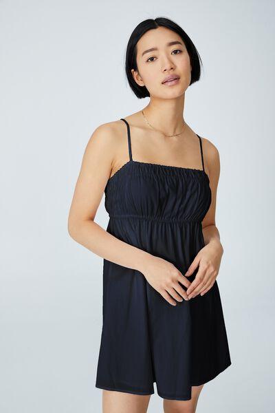 Woven Petite Molly Smock Mini Dress, BLACK