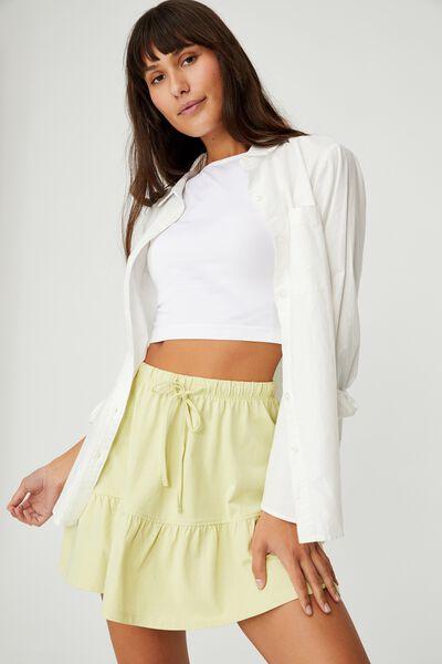 Tori Tiered Mini Jersey Skirt, WASABI
