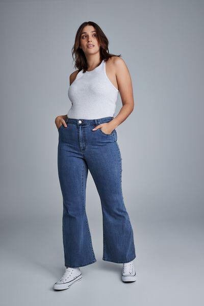 Curve Denim Stretch Flare Jean, NIGHTFALL BLUE