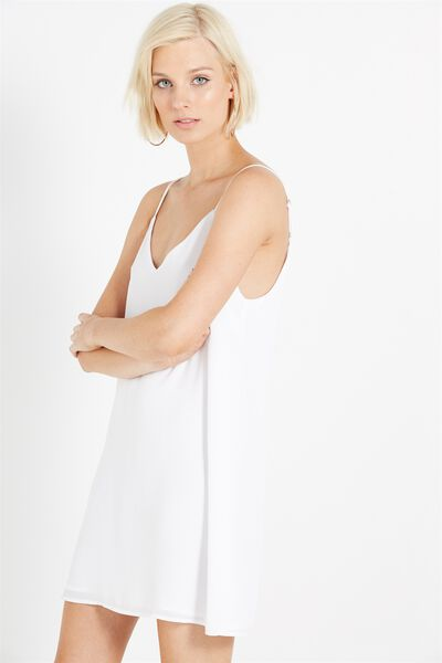 Woven Margot Slip Dress, WHITE