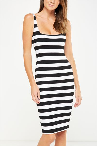 Kimi Scooped Bodycon Midi Dress, BLACK/WHITE BLOCK STRIPE