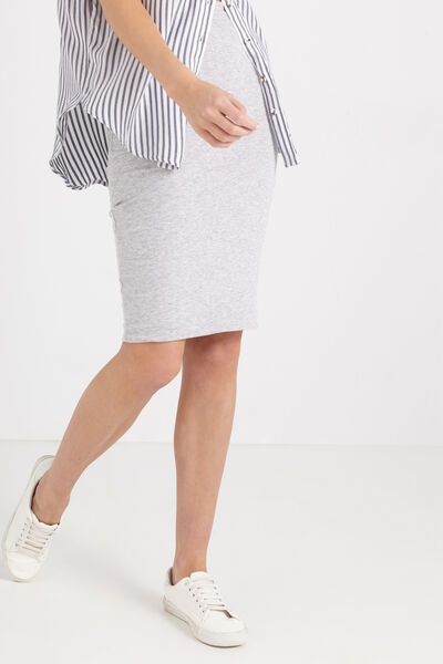 Midi Tube Skirt, GREY MARLE