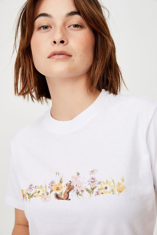 Classic Organic Cotton Graphic T Shirt, FLORAL SQUIRREL/WHITE