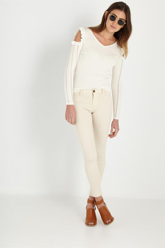 Long Sleeve Rib Cold Shoulder Knit, WHITE