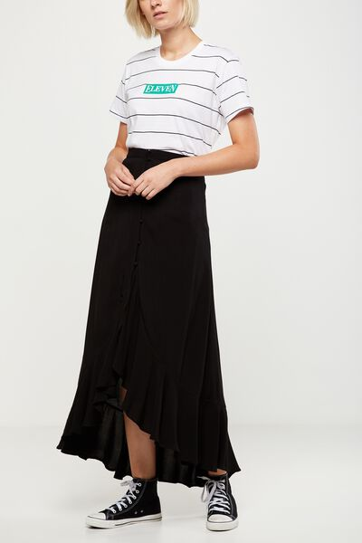 Woven Sonia Button Through Skirt, BLACK