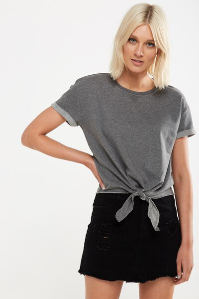 Coco Short Sleeve Fleece Top, CHARCOAL MARLE