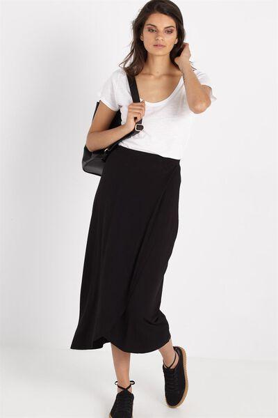 Sea Moonshine Wrap Skirt, BLACK