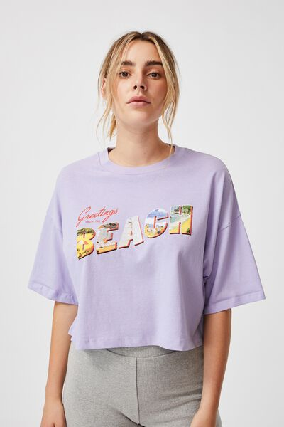 Chopped Boyfriend Tee, GREETINGS FROM THE BEACH/SHEER LILAC
