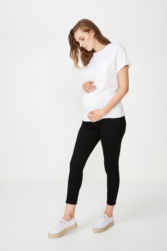 Mid Rise Maternity Grazer, BLACK
