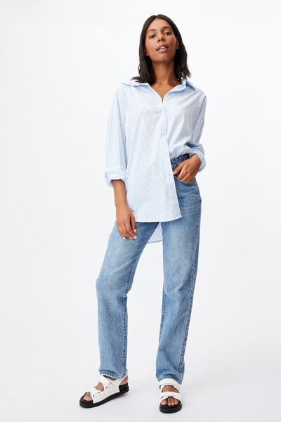Lily Frill Collar Long Sleeve Shirt, EMILY STRIPE AUTHENTIC BLUE