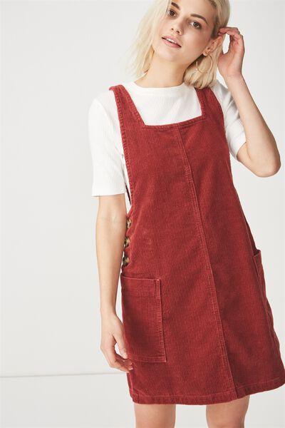 Denim Pinafore Dress, ROSEWOOD CORD