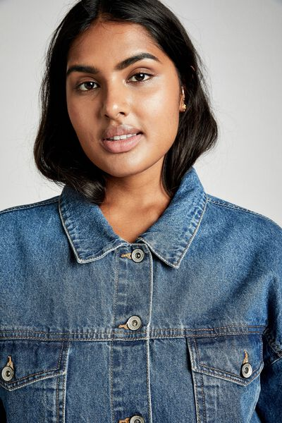 Curve Boyfriend Denim Jacket, BERKLEY BLUE