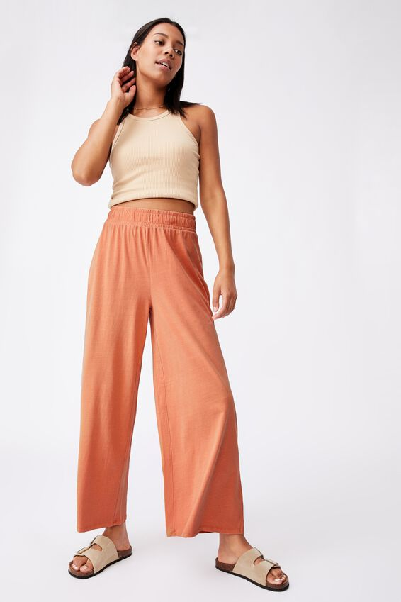 Wide Leg Lounge Track Pant, WASHED ROSE CLOUD