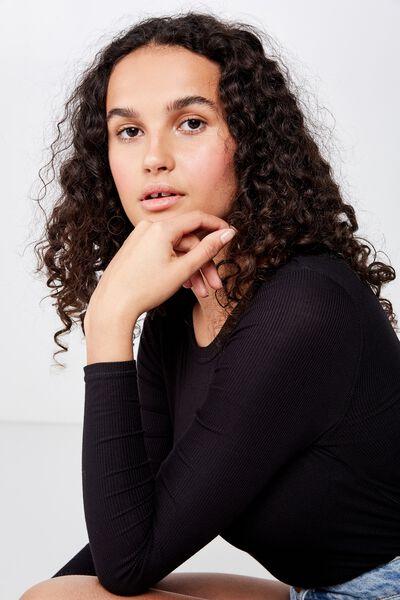 A Girlfriend Long Sleeve Top, BLACK