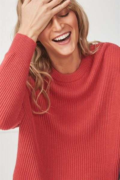 Archy Cropped Pullover, GARNET ROSE