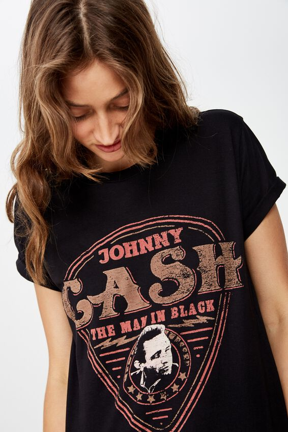 Classic Band T Shirt, LCN MT JOHNNY CASH MAN IN BLACK/BLACK