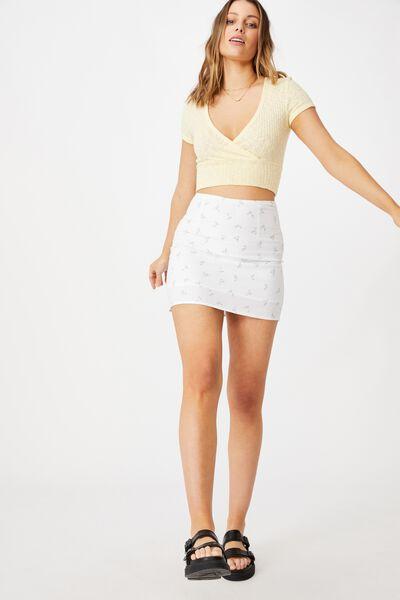 Straight Talking Mini Skirt, ELLIE DITSY WHITE PALE BLUE