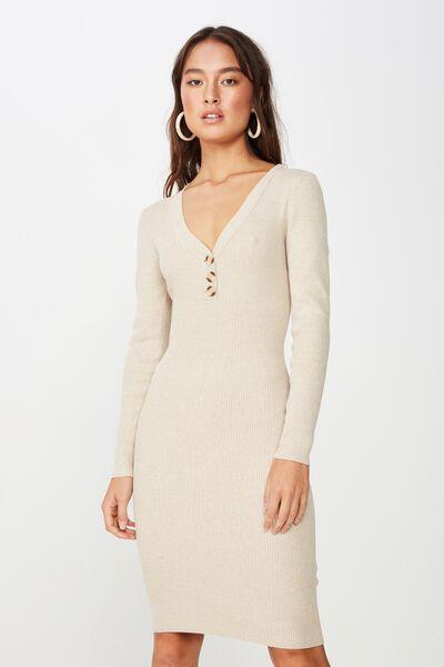 Ginger True Knit Button Midi Dress, BRUSH MARLE