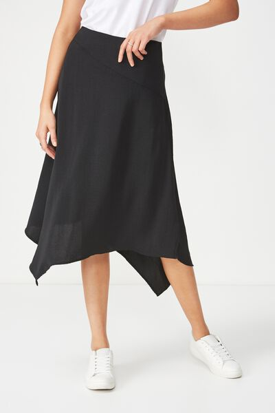 Woven Amy Assymetric Hem Midi Skirt, BLACK