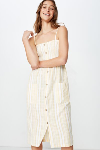 Woven Eliza Shirred Midi Dress, LIZZIE STRIPE SUNDRESS