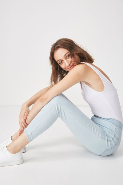 High Rise Capri Jegging, LIGHT BLEACH