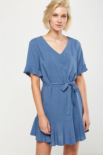 Woven Matina 3/4 Sleeve Dress, CADET BLUE